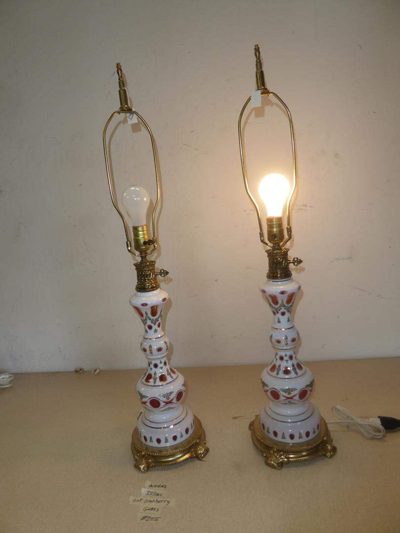 Lot # 205 -Pair of Vintage Bohemian Czech Crystal White Cut to Cranberry Glass Table Lamps (main image)