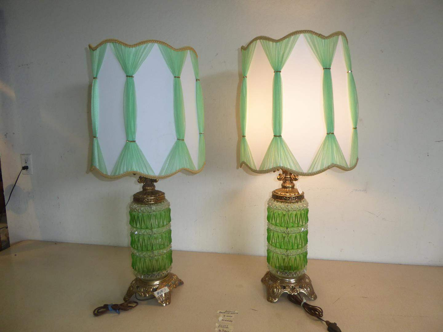 Lot # 207 - Pair Vintage Green & Clear Glass 3-Way Light Table Lamps (main image)