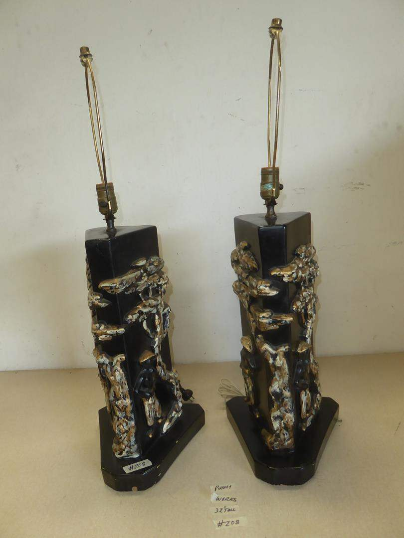 Lot # 208 - Pair Vintage Asian Pottery Table Lamps (main image)