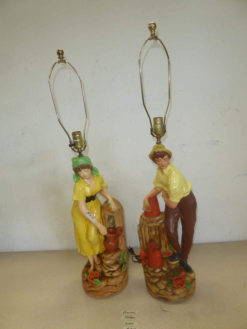 Lot # 210 - Vintage Pair Figural Girl & Boy Table Lamps (Plaster) (main image)