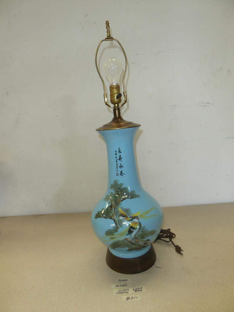 Lot # 211 - Beautiful Oriental Hand Panted Blue Glass Table Lamp (main image)