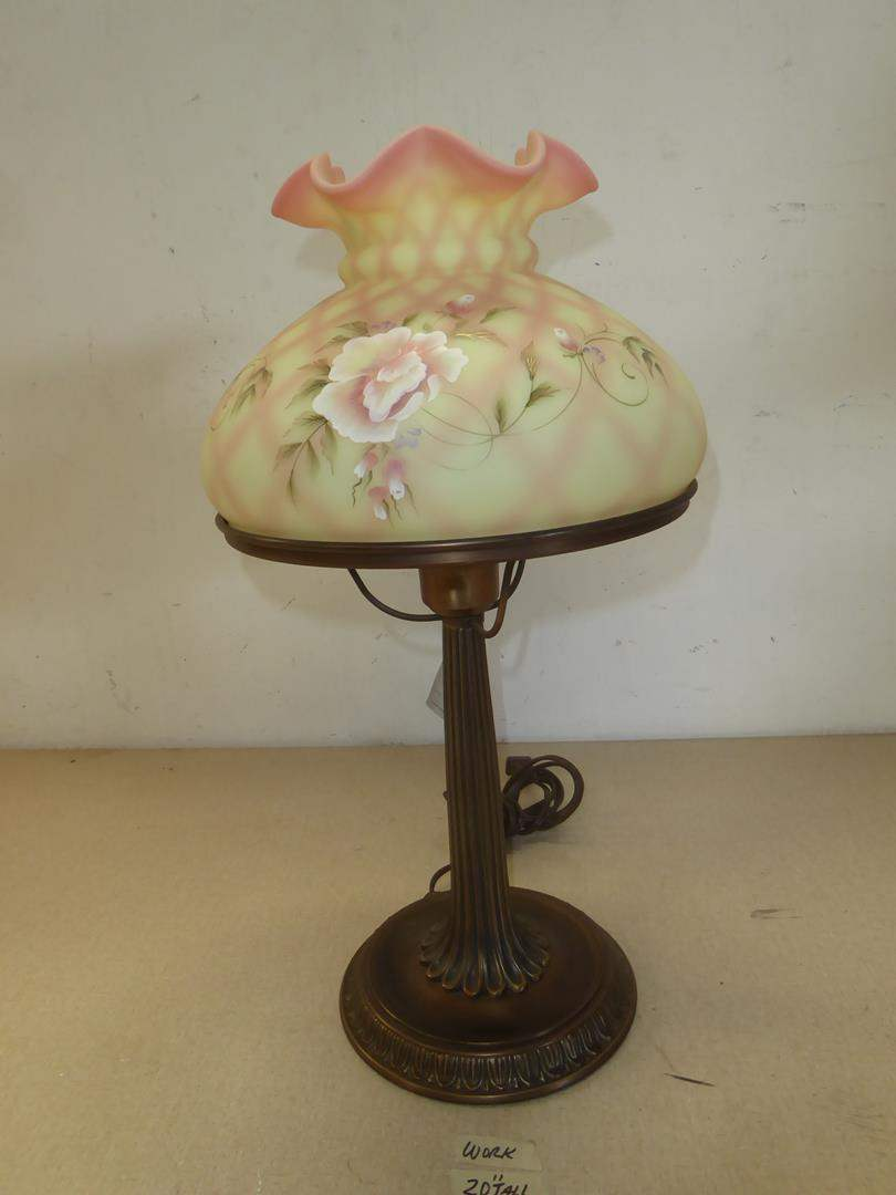 Lot # 215 - Lovely Fenton Hand Painted Signed Numbered Lamp 12/350 (main image)