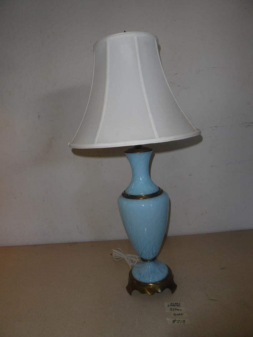 Lot # 218 - Beautiful Blue Art Glass w/Metal Base Table Lamp (main image)