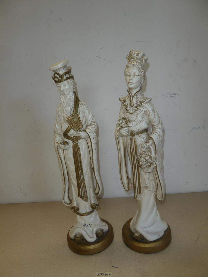 Lot # 219 - Two Vintage 1958 Universal Statuary Oriental Sculptures (main image)