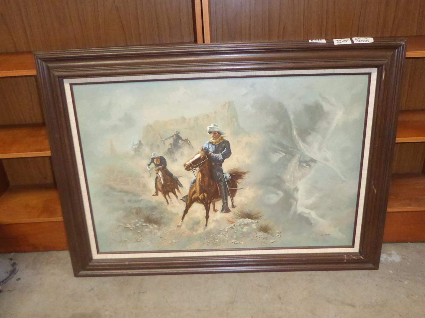 Lot # 220 - Framed Western Oil on Canvas by Bill Bliss (main image)
