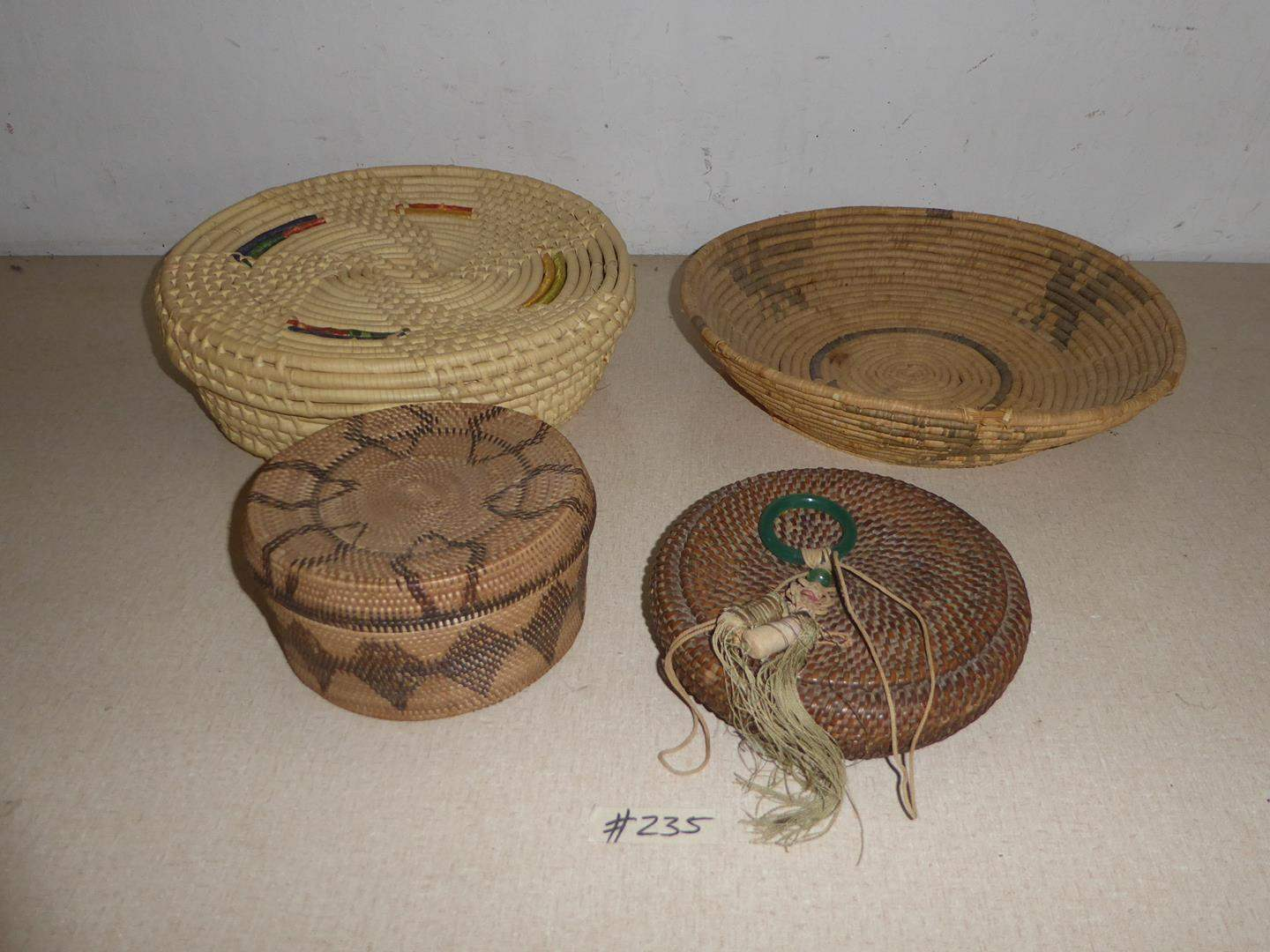 Lot # 235 - Four Vintage Baskets (main image)