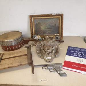 Auction Thumbnail for: Lot # 250 - Antique Paper Cutter, Toy Gun, Old Distressed Plaster Cherub Wall Lamp, Banjo & Framed Oil on Canvas