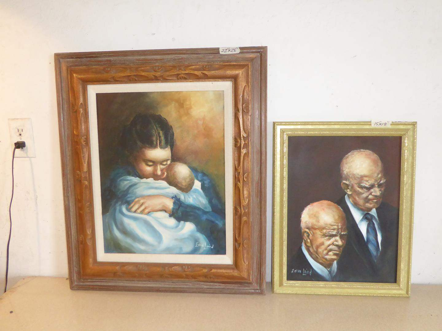 Lot # 253 - Two Framed Vintage Oil on Canvas Paintings by Edna Laird (main image)
