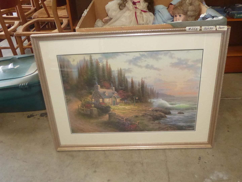 "Lot # 256 - Framed Signed Numbered Thomas Kinkade Print ""Pine Cove Cottage"" 1382/4850 (main image)"