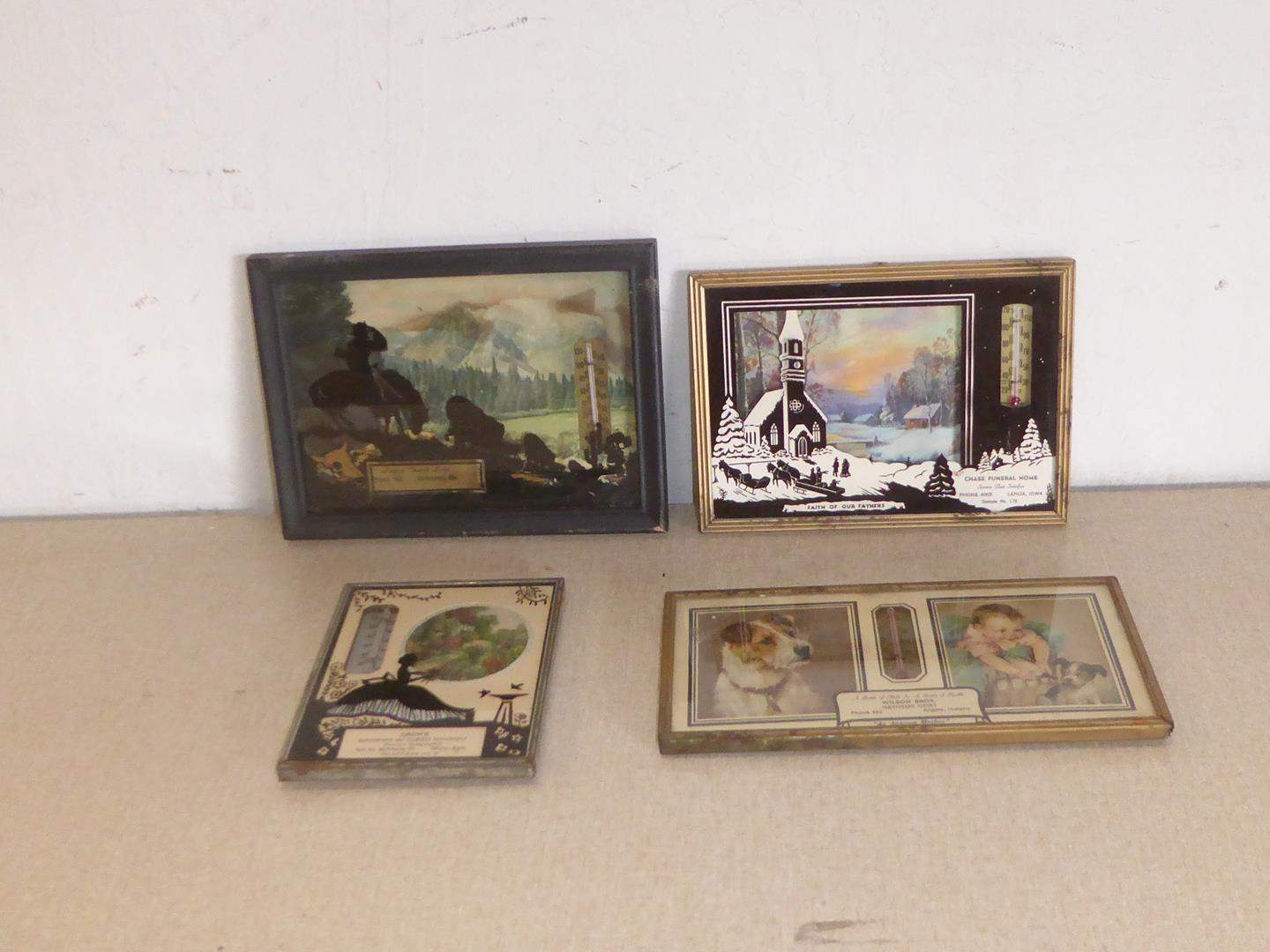 Lot # 258 - Vintage Silhouette Advertising Calendars & Thermometers (main image)
