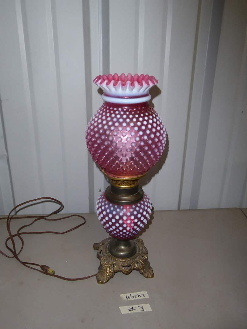 Lot # 3 - Fenton Cranberry Opalescent Hobnail Lamp  (main image)