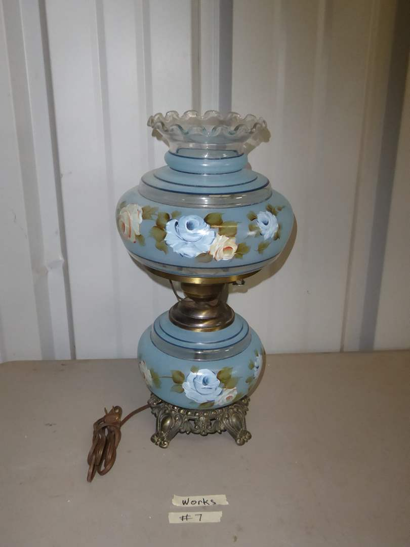 Lot # 7 - Hand-Painted Glass Lamp (main image)
