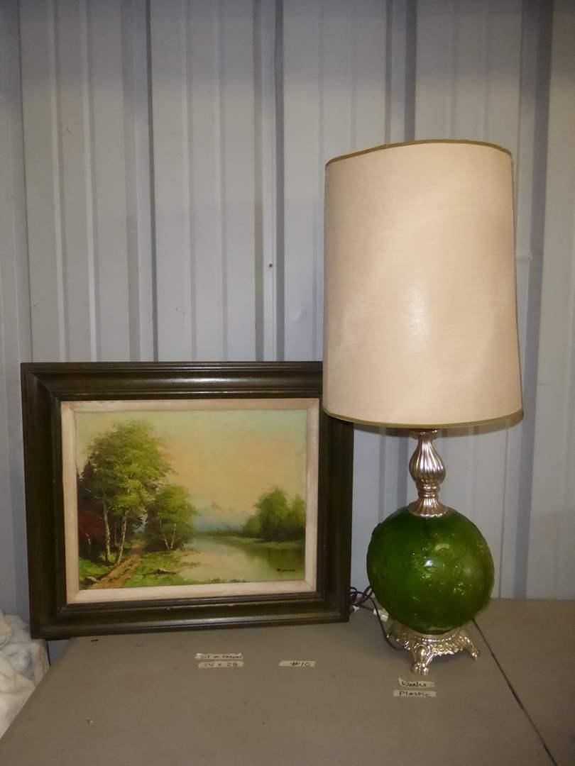 Lot # 10 - Vintage Table Lamp & Framed Oil On Canvas (main image)