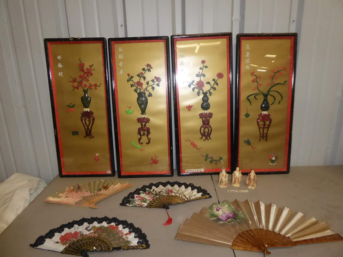 "Lot # 20 - Chinese ""Four Seasons"" Sculptural Shadow Box Art, Resin Figurines & Paper Fans  (main image)"