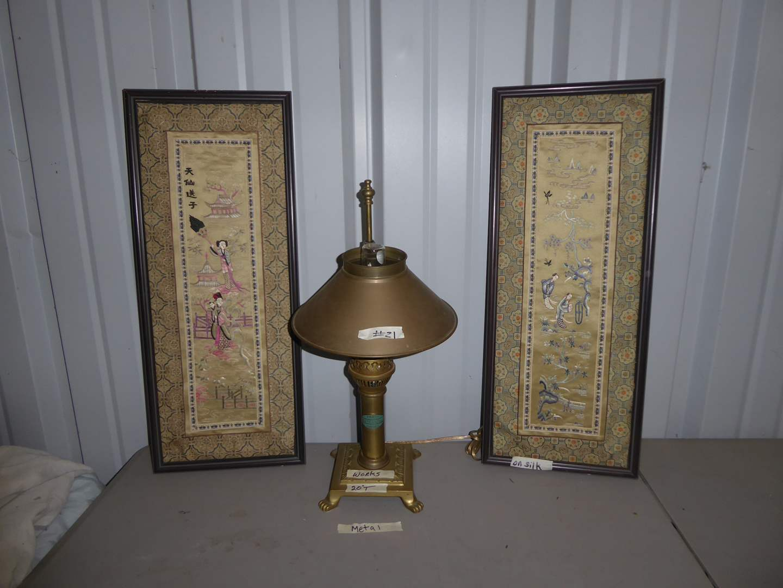 Lot # 21 - Framed Silk Art & Vintage Paris Orient Express Brass Lamp   (main image)