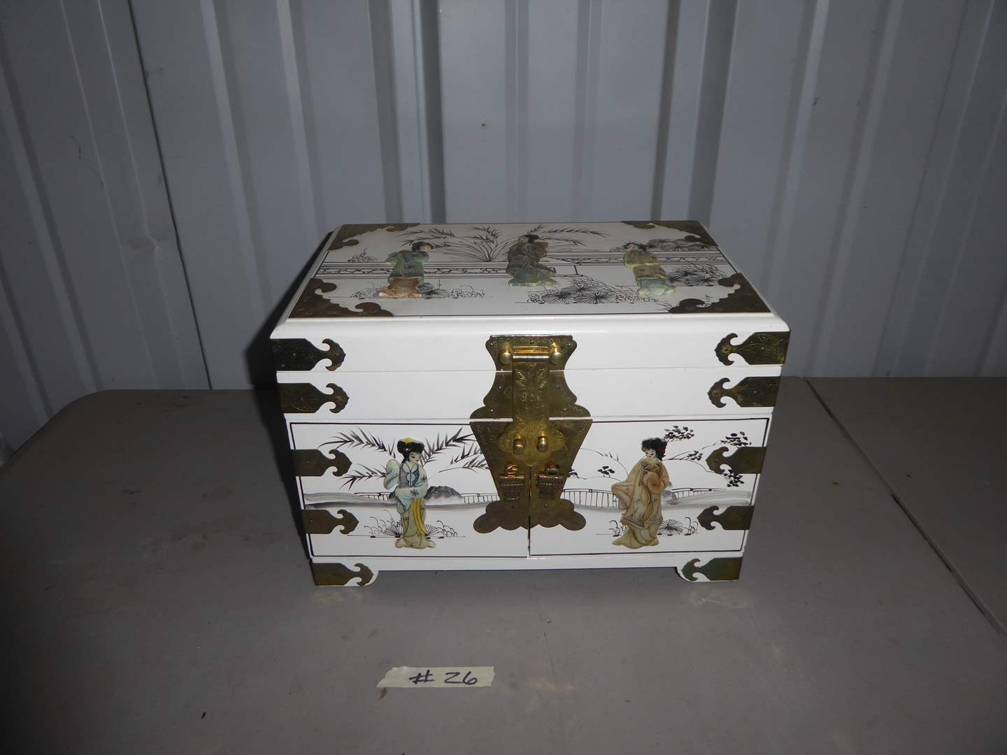 Lot # 26 - Wooden Jewelry Box W/Brass Hardware & Resin Embellishments  (main image)