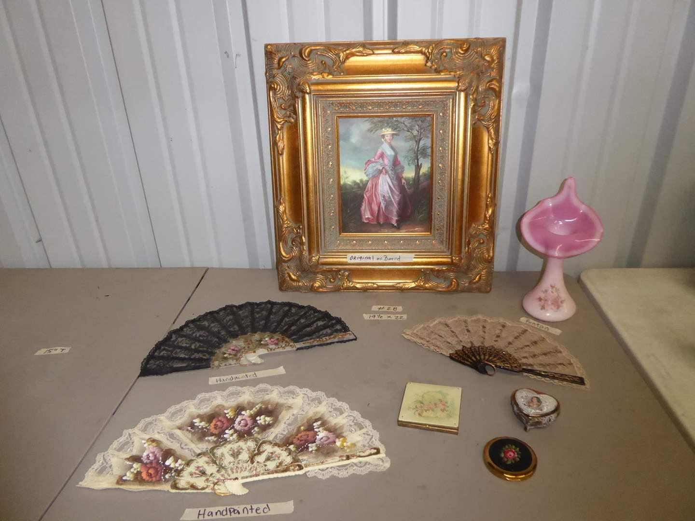 Lot # 28 - Original Oil On Board, Hand-painted W.C Fenton Vase & Fans  (main image)