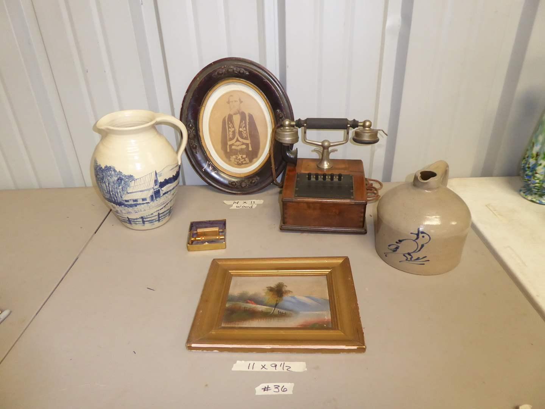 Lot # 36 - Vintage & Antique Collectibles - Stoneware Crock Jug, Hotel Phone & Michael A. Crocker Pitcher & Photograph  (main image)