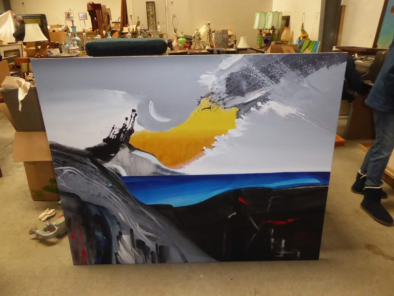 Lot # 38 - Large Signed Acrylic On Canvas  (main image)