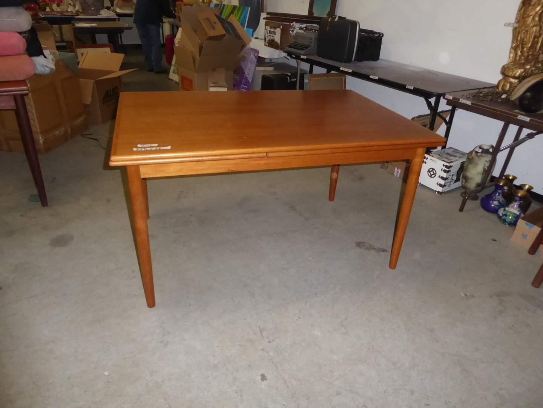 "Lot # 42 - Mid-Century Modern Danish ""AR"" Teakwood Expandable Table  (main image)"