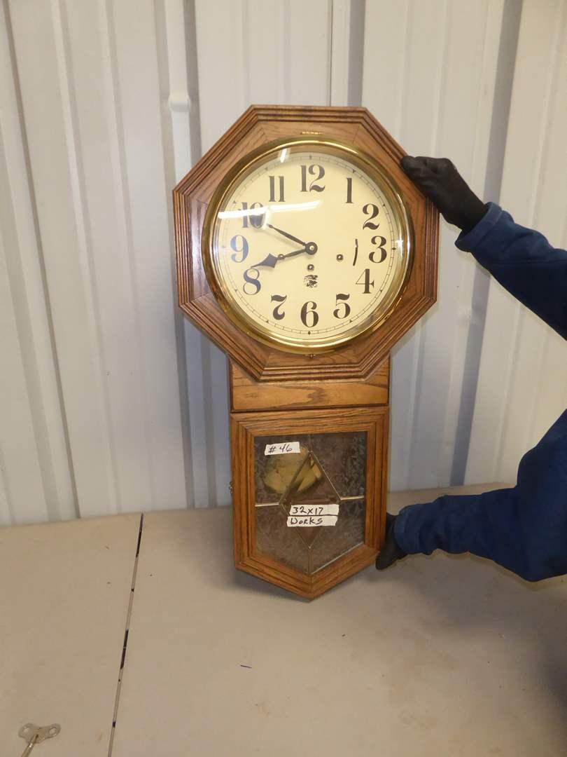 """Lot # 46 - """"San Francisco Clock Company"""" Oak & Veneer Wall Clock  (main image)"""