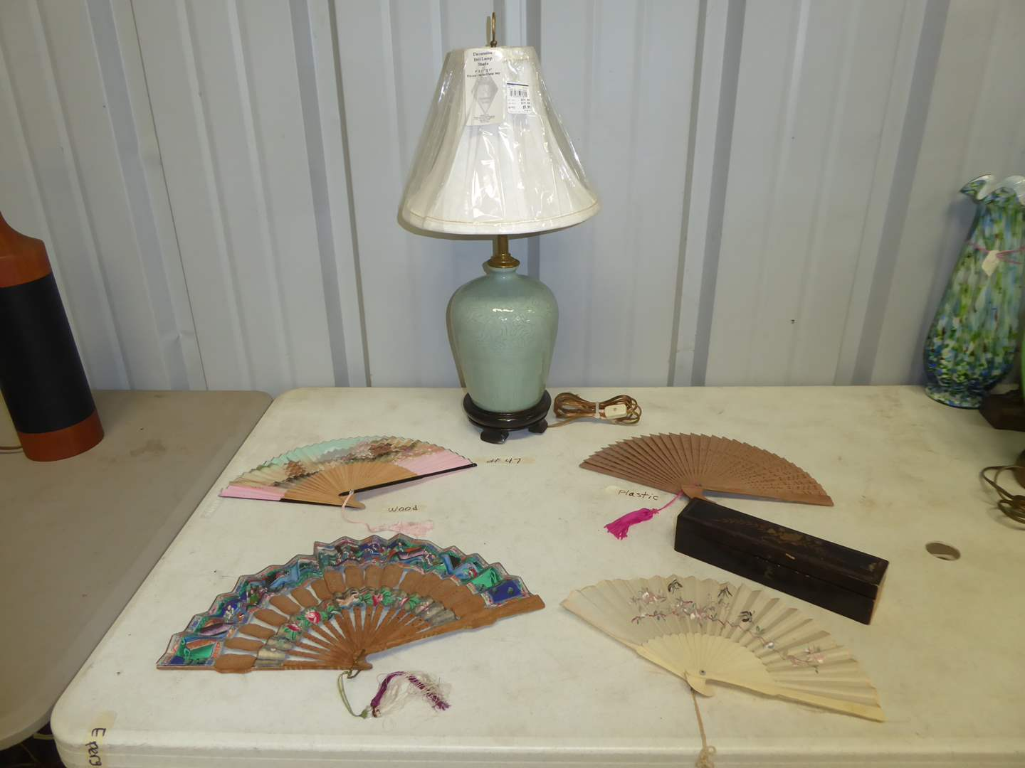 Lot # 47 - Very Pretty Asian Style Glass Lamp & Vintage Fans  (main image)