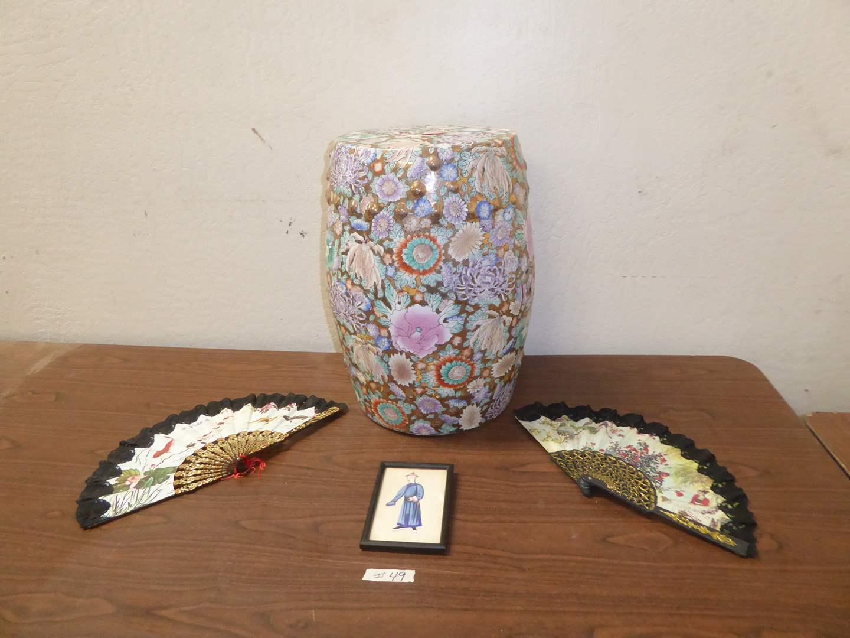 Lot # 49 - Original Art On Rice Paper & Chinese Garden Stool (main image)