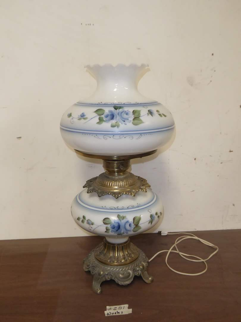 Lot # 281 - Hand-Painted Glass Table Lamp  (main image)