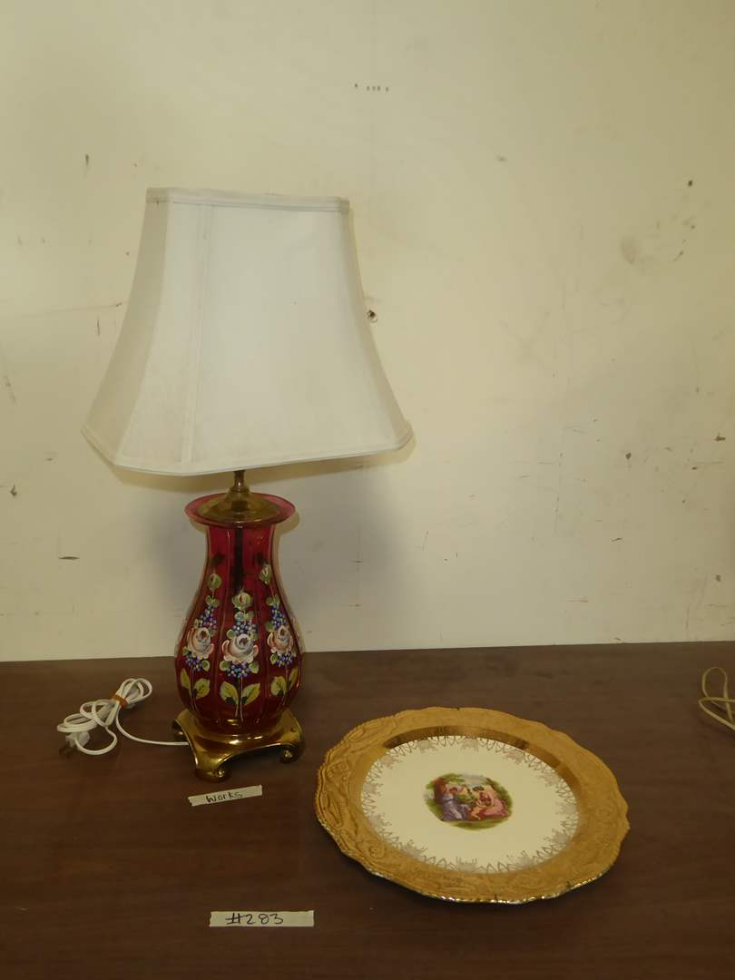 Lot # 283 - Hand-Painted Glass Lamp W/Brass Base & Adam Antique By Steubenville Plate  (main image)