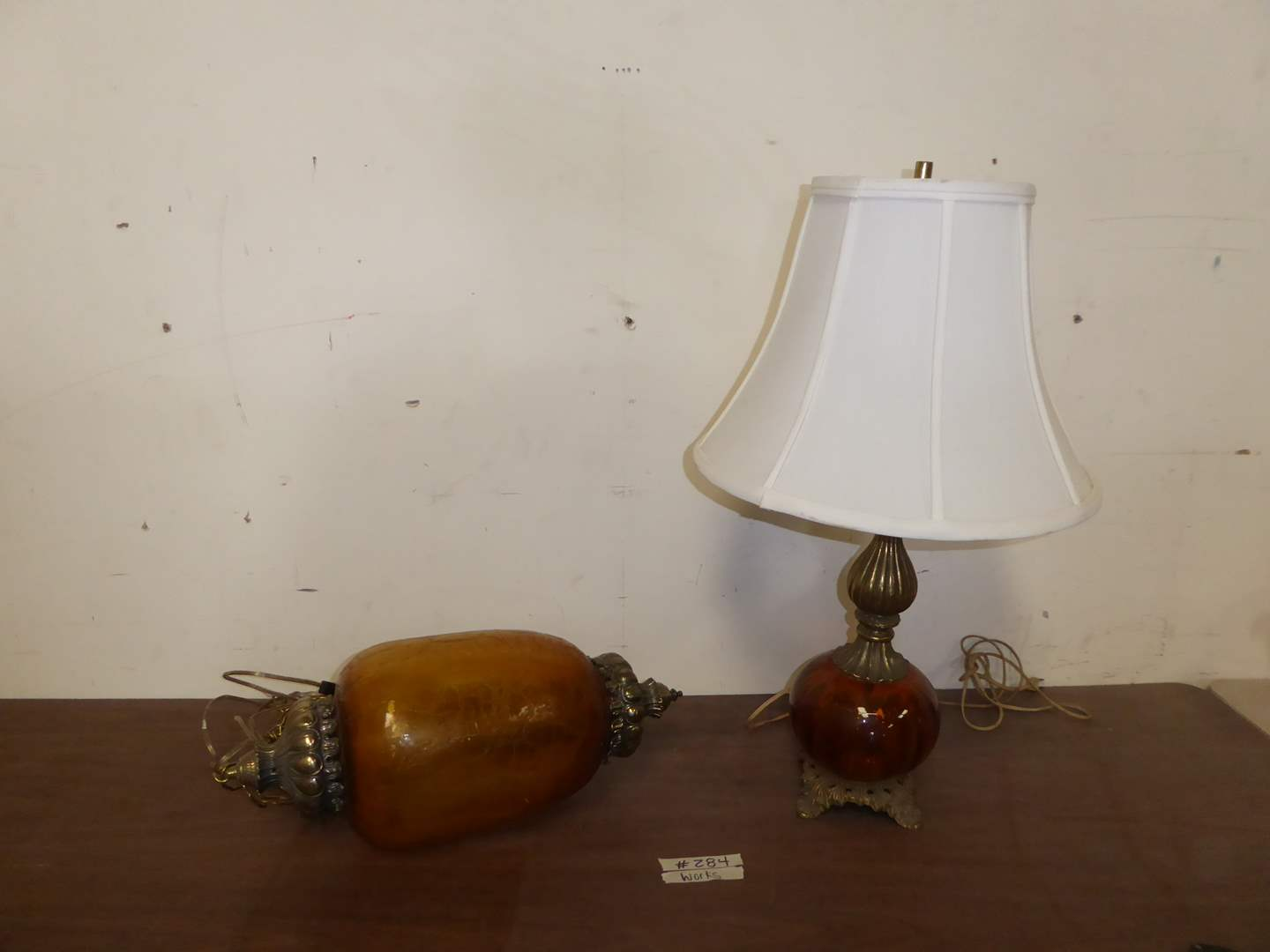 Lot # 284 - Vintage Amber Crackle Glass Hanging Lamp & Red Glass Table Lamp  (main image)