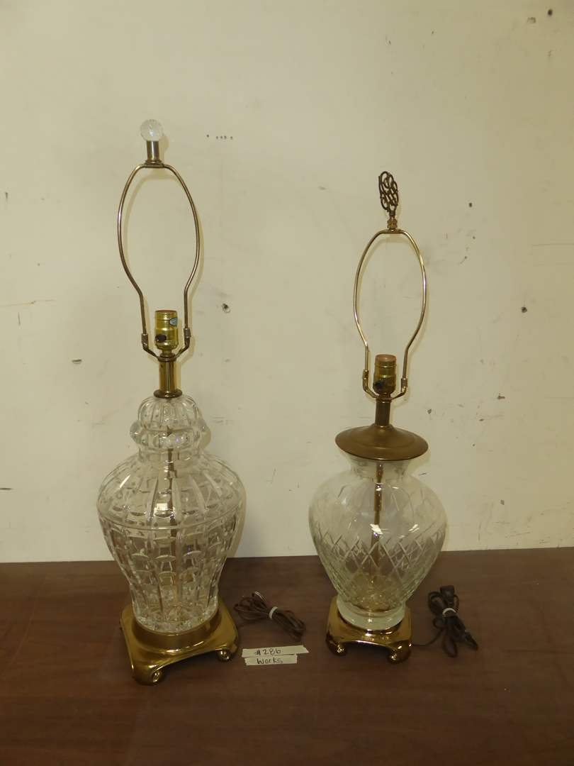 Lot # 286 - Two Glass & Brass Table Lamps  (main image)