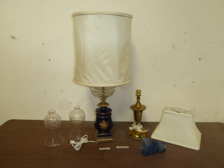 "Lot # 287 - Blue Lamp, Blue Glass ""Viane"" Shade & Miscellaneous Lamp Parts   (main image)"