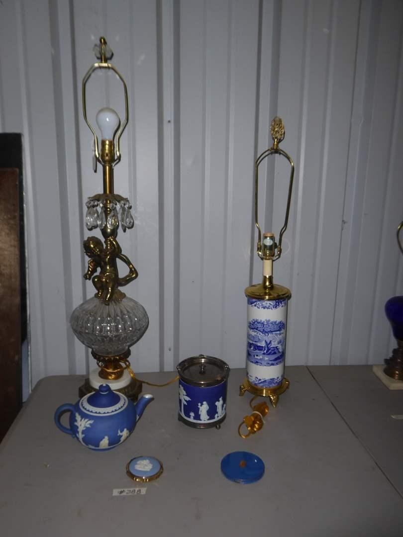 Lot # 288 - Crystal & Brass Cherub Lamp, English Scenery Lamp & More  (main image)
