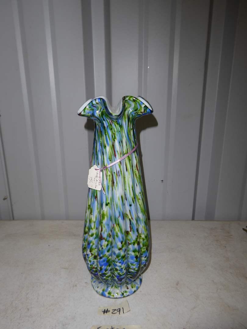 Lot # 291 - Vintage Fenton Art Glass Vase 'Murrhina' Blue Green Aventurine  (main image)