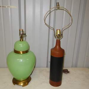 Auction Thumbnail for: Lot # 292 - Vintage Green Glass Lamp & Wood & Leather Lamp (No Shades)