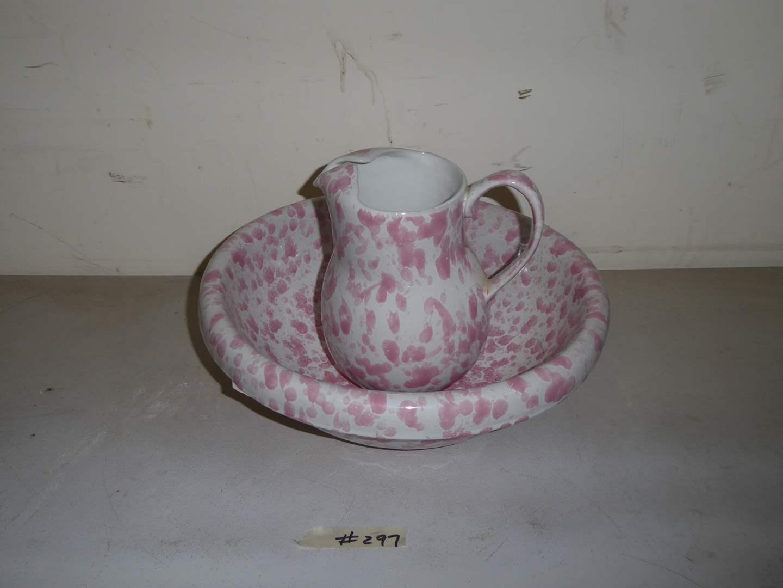 Lot # 297 - Bennington Pink Agate Spongeware Art Pottery Bowl & Pitcher   (main image)