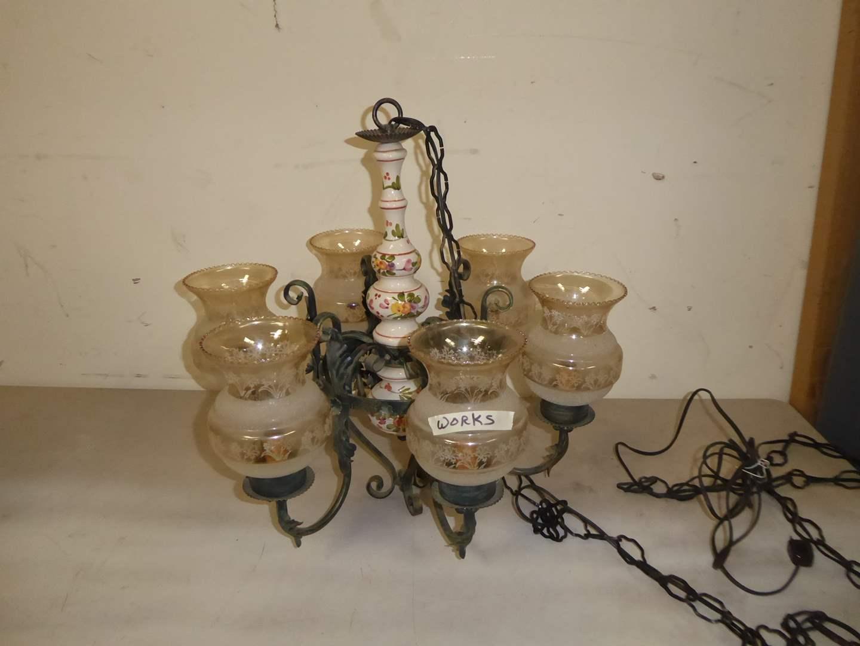 Lot # 298 - Ceramic & Metal Chandelier W/Glass Shades  (main image)