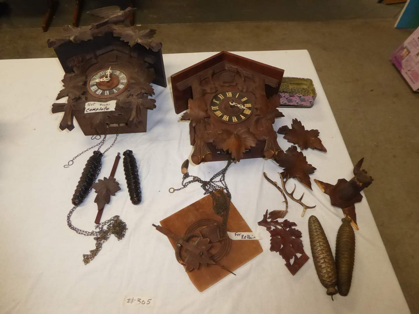 Lot # 305 - Two Cuckoo Clocks (One Complete & Not Tested) The Other For Parts   (main image)