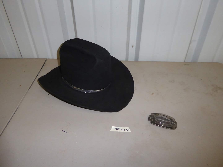 Lot # 310 - Vintage Resistol Cowboy Hat & 1979 Give Up My Gun Buckle  (main image)