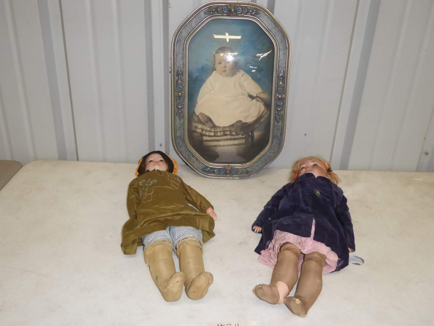 "Lot # 311 - Two ""Armand Marseilles"" Antique Bisque Dolls & Framed Portrait  (main image)"