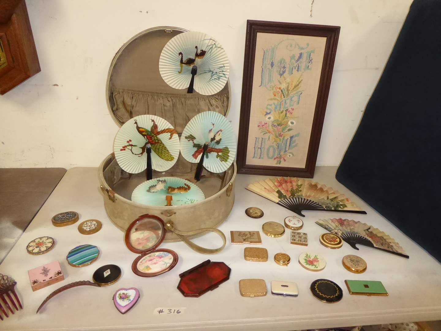 Lot # 316 - Small Vintage Suitcase, Paper Fans & Compacts   (main image)