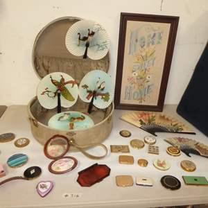 Auction Thumbnail for: Lot # 316 - Small Vintage Suitcase, Paper Fans & Compacts