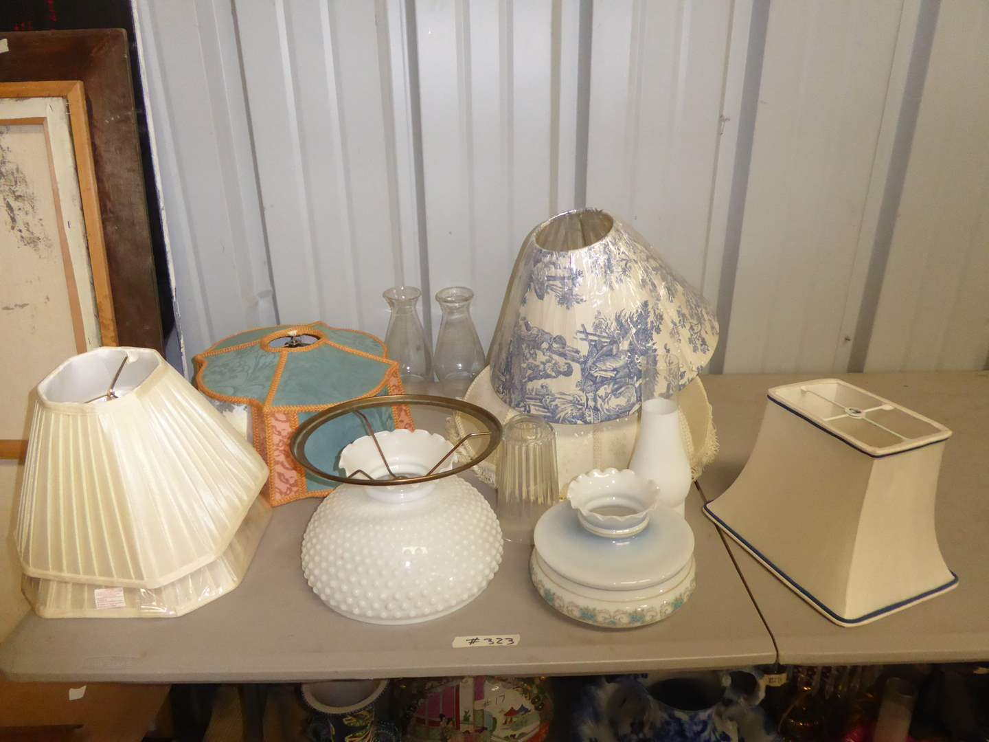 Lot # 323 - Miscellaneous Glass & Fabric Lamp Shades (main image)