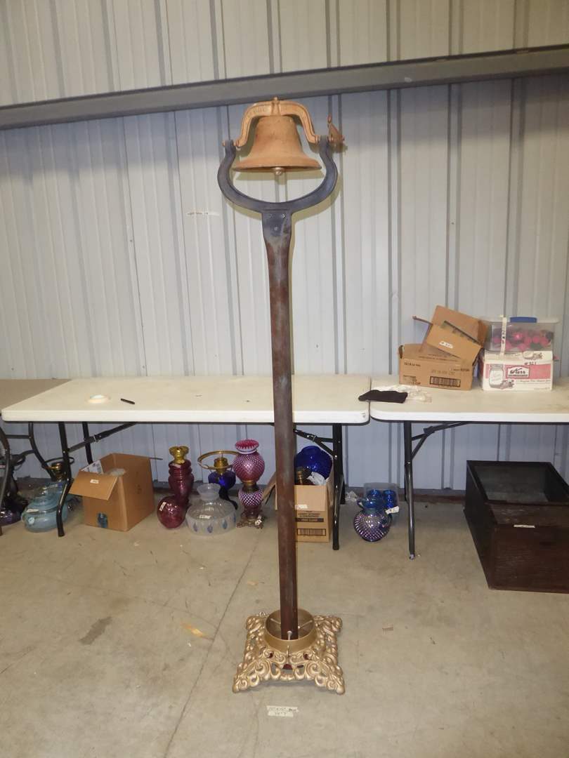 Lot # 325 - Vintage Dinner Bell On Post W/Stand  (main image)