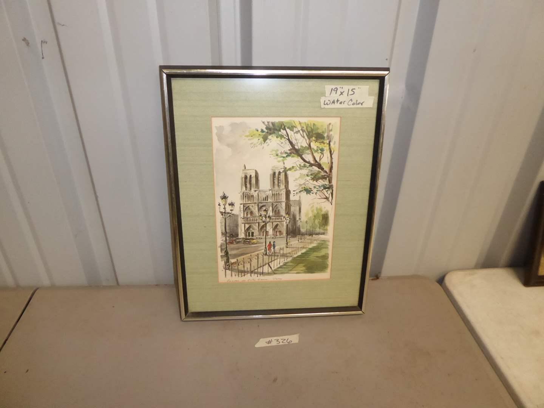 "Lot # 326 - Signed Framed Watercolor ""Gabrielle Hudout""   (main image)"