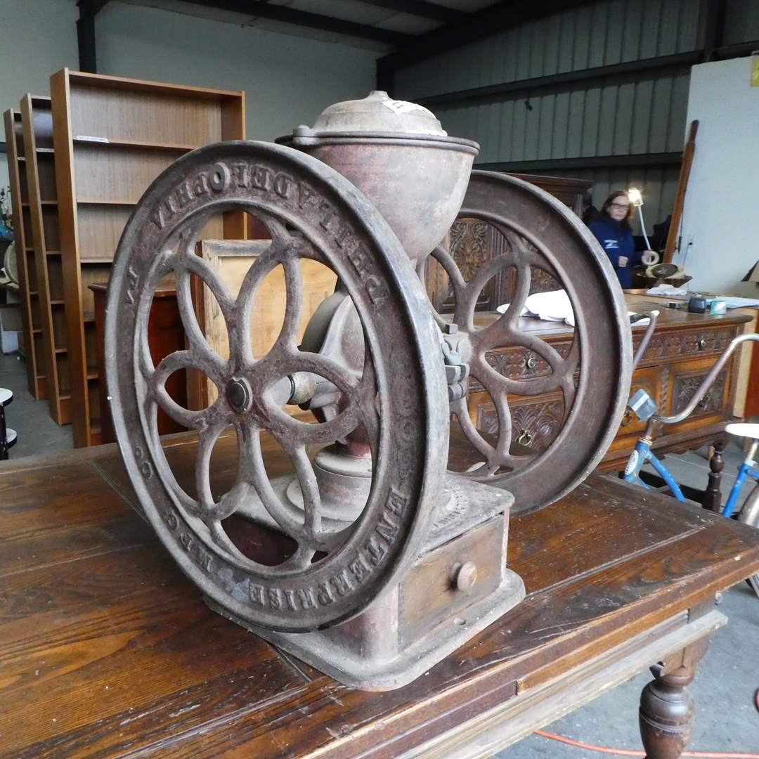 Lot # 100 - Antique 1873 Cast Iron Enterprise MFG Co. Coffee Grinder (main image)