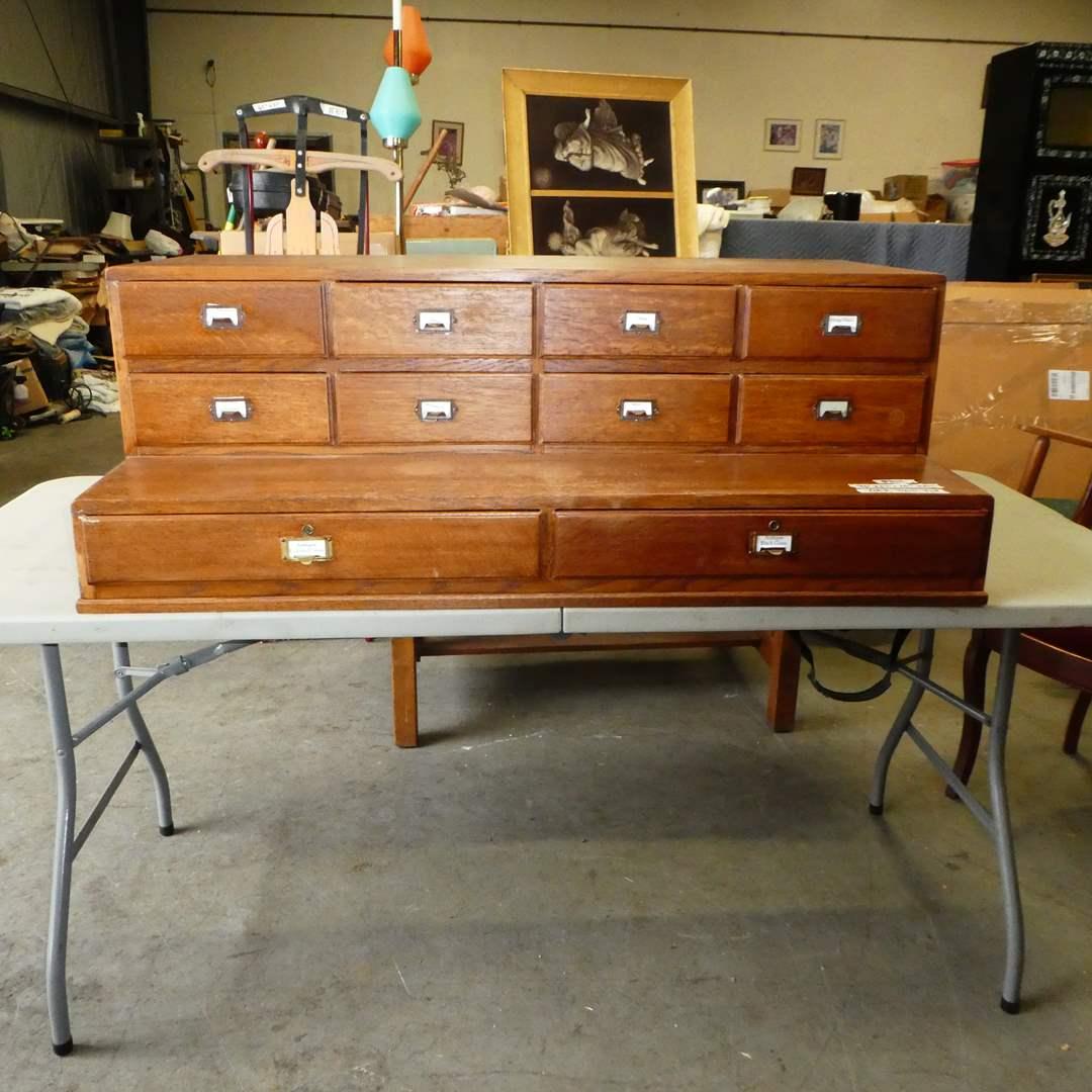 Lot # 104 - Antique Oak 10 Drawer Filing Desk Topper  (main image)