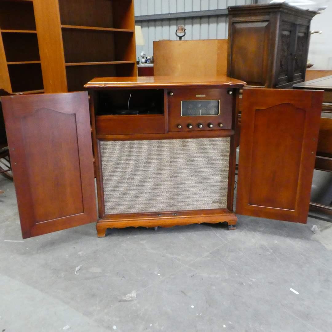 "Lot # 106 -Fisher Radio Custom Electra ""The Normandy"" K-100 (Radio Works, Phonograph Tries to  Work) (main image)"