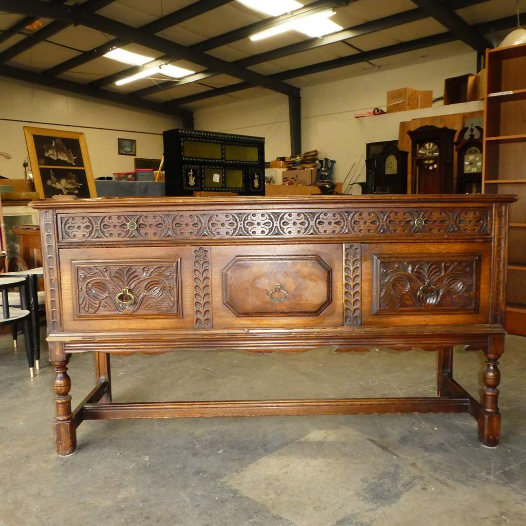 Lot # 107 - Beautiful Antique Berkey and Gay Carved Sideboard Buffet (main image)