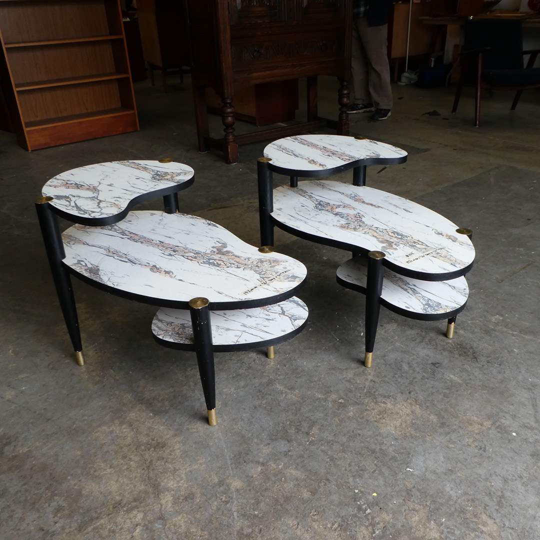 Lot # 109 -Atomic 1950's Kidney Bean Shaped Three Tier Side Tables W/ Formica Top (main image)